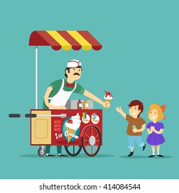 ice cream seller and childrens. Vector illustration.