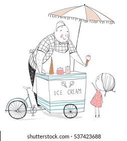 Ice cream seller and girl. Vector illustration.