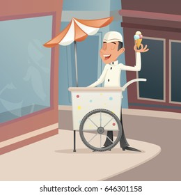 Ice Cream Seller Happy Smiling Cart Retro Vintage Cartoon Character Icon on Street Background Retro Cartoon Design Vector Illustration
