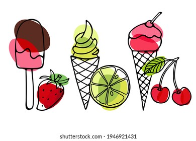 Ice Cream set. Different ice screm types. Hand drawn sketch with red, pink, green backdrop. Delicious frozen dessert. Bright summertime sweet food. Vector doodle for cafe menu, t-shirt, wallart.