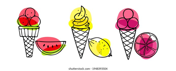 Ice Cream set. Different ice screm types. Hand drawn sketch with watermelon, lemon, grapefruit. Delicious frozen dessert. Bright summertime sweet food. Vector doodle for cafe menu, t-shirt, wallart.