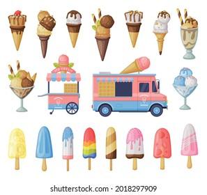Ice Cream Set, Fresh Cold Sweet Tasty Desserts, Waffle Cones, Popsicles and Ice Cream Vendor Truck Cartoon Vector Illustration
