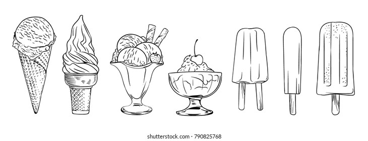 Ice cream set. Isolated line art vector illustration in black and white.