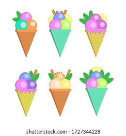 Ice cream set on white background. Vector illustration.