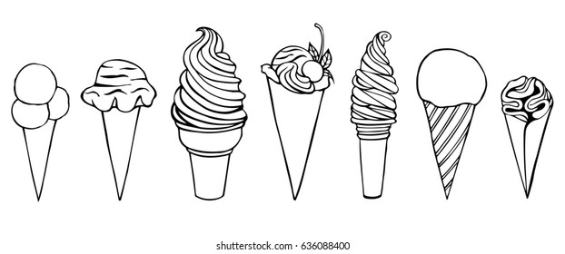 Ice cream set. Pen sketch converted to vectors. Isolated on white
