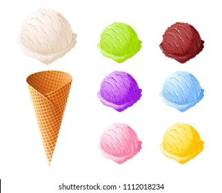 Ice cream. Set of summer sweetness. Milk, chocolate, vanilla, strawberry icecream. Cone cup Ice-cream. Sweet dessert. Frozen product. Isolated white background. EPS10 vector illustration.