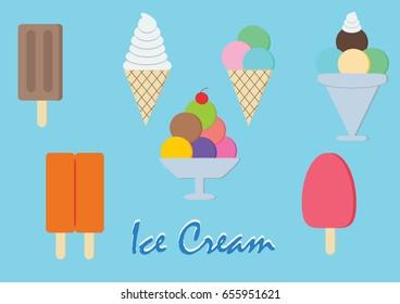 ice cream set very cool (flat design)
