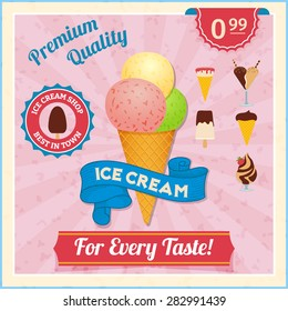 Ice cream shop advertisement vintage poster with three different taste scoops in waffle cone abstract vector illustration
