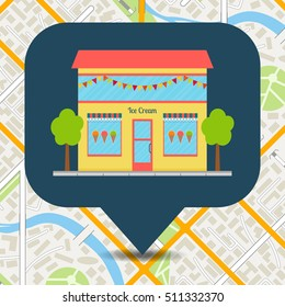 Ice cream shop icon on city map. EPS10 vector illustration in flat style.