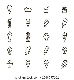Ice Cream Signs Black Thin Line Icon Set Include of Dessert, Cone, Sundae and Sorbet. Vector illustration of Icons