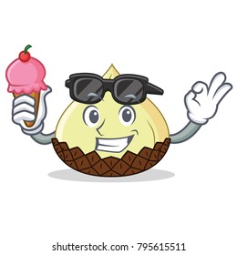 With ice cream snake fruit character cartoon