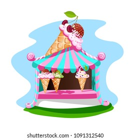 Ice cream stall with tasty decor. Bright, summer banner. Vector illustration.