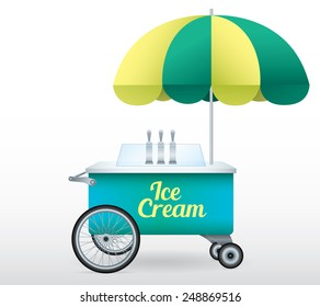 Ice Cream stand cart vector illustration isolated object