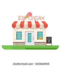 Ice cream store building. Store building near park and city. Restaurant with ice cream. Flat vector illustration. Trendy retro color style.
