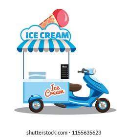 Ice cream street food cart, scooter, moped, truck, with fresh Cones, Sticks, Buckets, Sherbet, Rolled Ice Cream, Soft Serve, Frozen Yogurt, Gelato, Kulfi, Sorbet, Faloodeh. Colorful illustration, cute