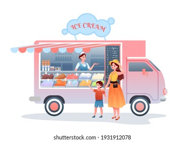 Ice cream street market food truck vector illustration. Cartoon mother character buying child son ice cream, woman seller vendor selling cold dessert sweet snack in kiosk marketplace isolated on white