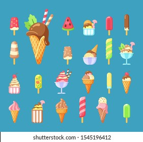 Ice cream, summer dessert cartoon vector illustrations set. Frozen fruit juice, tasty popsicle isolated cliparts pack. Scoops in waffle cones design elements. Flavored gelato, sundae stickers