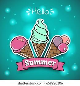 Ice Cream summer emblem