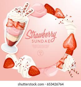 Ice Cream Sundae Set : Strawberry Sundae : Vector Illustration