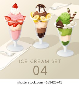Ice Cream Sundae Set  : Vector Illustration