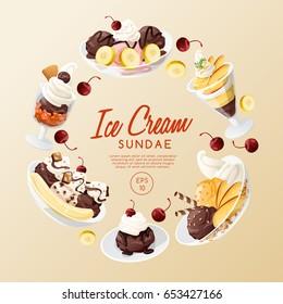 Ice Cream Sundae  : Vector Illustration