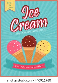 Ice Cream Template, Banner, Flyer or Menu Card design. Creative background with illustration of sweet delicious ice cream.