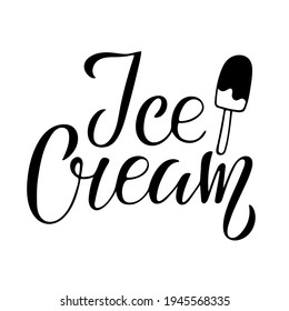 Ice Cream text wich Ice Cream stick sketch in chocolate. Hand dritten lettering. Delicious frozen dessert. Bright summertime sweet food. Vector doodle.