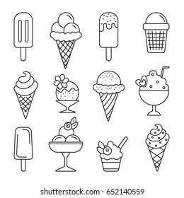 Ice cream: thin monochrome icon set, black and white kit