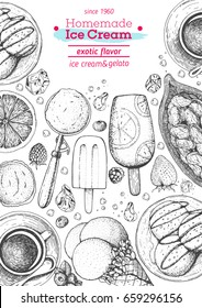 Ice cream top view frame. Food for dessert. Vector sketch for vintage menu design. Hand drawn food elements with ice cream, berries and fruits. Ice cream cafe menu.