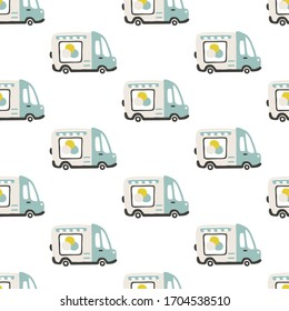 Ice cream trailer seamless pattern. Vector childish illustration in scandinavian simple hand-drawn style. The limited palette is ideal for printing on baby clothes, digital paper.