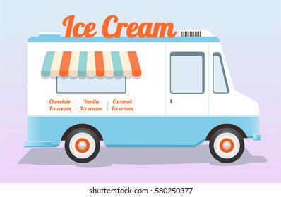 Ice Cream truck. Festival food car. Summer van
