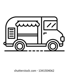 Ice cream truck icon. Outline ice cream truck vector icon for web design isolated on white background