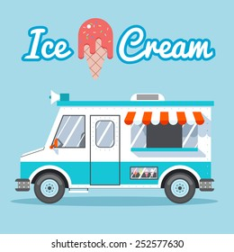 Ice cream truck for sale on a blue background. Vector illustration