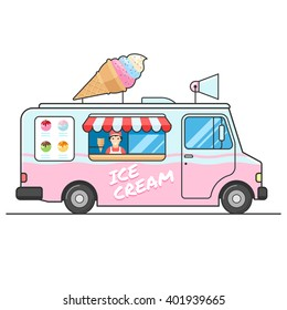 Ice cream truck, side view. Seller of ice cream in the van. Ice cream van. Isolated vector flat design illustration on white background for your web design or print