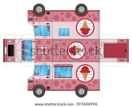 Ice Cream Truck Template To Cut Out And Glue Into A 3D Model