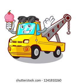With ice cream truck tow the vehicle with mascot
