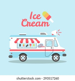 Ice cream truck vector flat colorful illustration