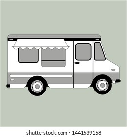 ice cream truck,vector illustration,flat style,profile view