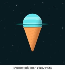 ice cream with uranus flavor. concept art if planet become a ice cream