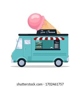 Ice cream van. Food truck isolated on white background. Vector illustration