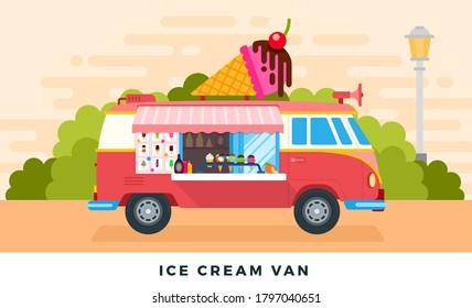 Ice cream van on urban street or in park. Vector flat illustrations. Ice cream truck. Side view.