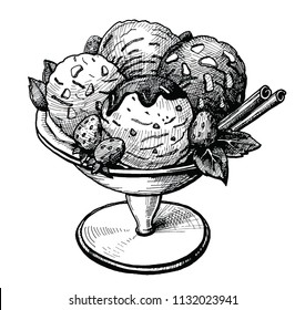 Ice cream in the vase hand drawn vector illustration. Vintage Ice cream sketch with strawberries chocolate and cinnamon sticks. Food ink drawing for cafe or restaurant menu. Graphic image isolated o