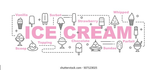 ice cream vector banner design concept, flat style with thin line art ice cream icons on white background