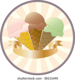 Ice Cream Vector Button showing three flavours of ice cream and a banner for your text