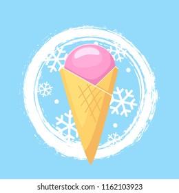 Ice cream . Vector cartoon ice cream on blue background with white snowflakes