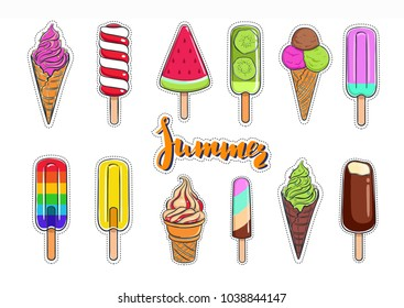 Ice cream vector collection. Colorful isolated Stickers. Summer hand drawn Lettering.