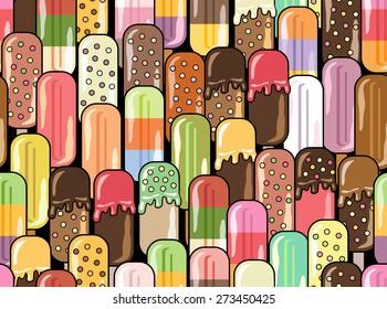 冰淇淋矢量插图。 抽象无缝图案。 孩子们的壁纸。 时髦的背景。 夏季美食背景。
