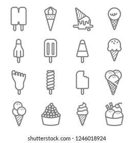 Ice Cream Vector Line Icon Set. Contains such Icons as Cone, Popsicle, Soft serve and more. Expanded Stroke