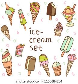 ice cream vector set