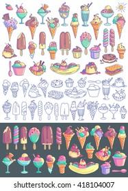 Ice cream vector set. Snow cone, icecream sandwich, banana split, milkshake, sorbet, sundae, gelato, frozen yogurt, scoop. Line art and colorful drawings isolated on background
